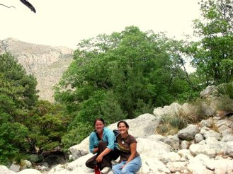 Me and Shanna near a mountain lion den. Photo Courtesy of Shanna Nozdryn