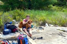 Andrew and Banjo at Harry's Lake portage