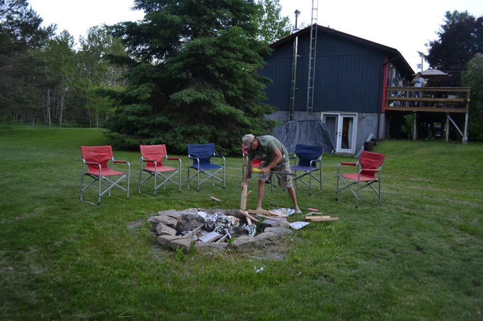 My dad building a fire