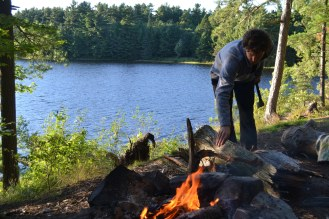 Nick building a fire for us in Killarney