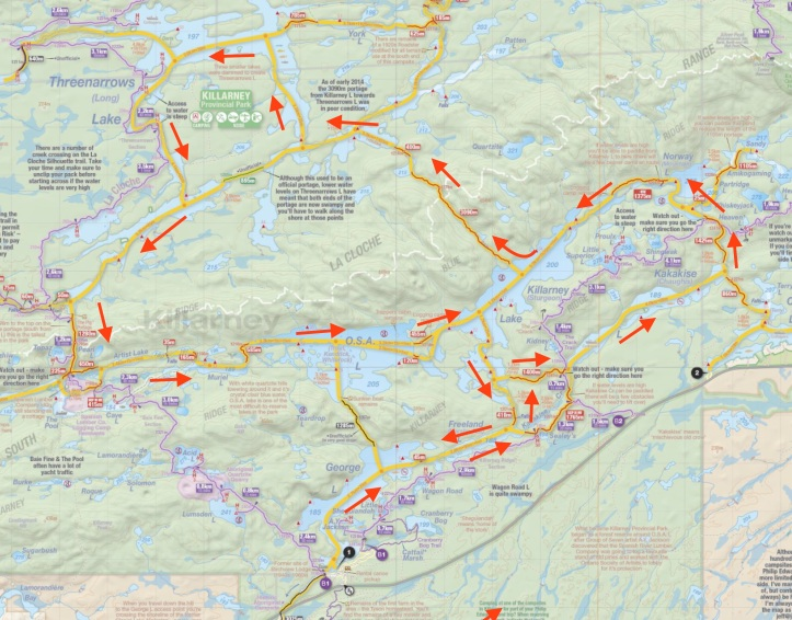 Our complete route as shown on Jeff's Map
