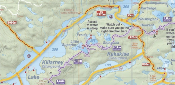 Day 3 as shown on Jeff's Map. Kakakise to Killarney via Norway Lake