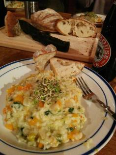 Risotto with fresh-baked bread