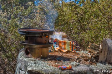Cookin' veggie dogs on the Kelly Kettle Hobo Stove