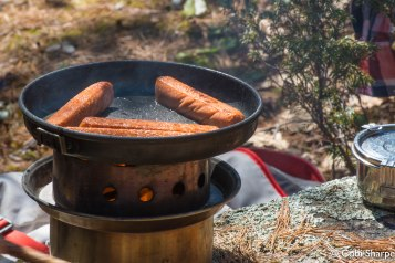 Veggie dogs for lunch on the Kelly Kettle Hobo Stove