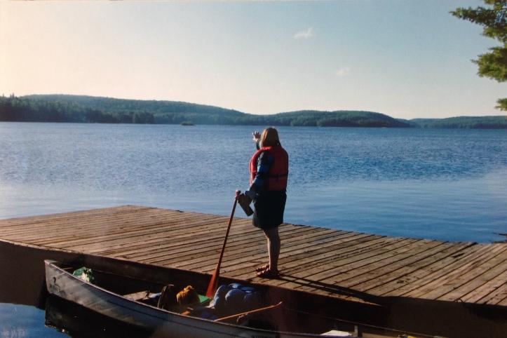 Getting ready to paddle across Smoke Lake