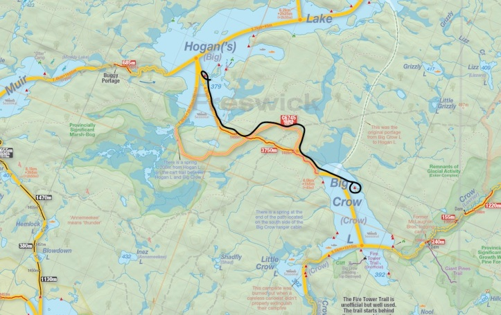 Big Crow to Hogan portage as shown on Jeff's Map