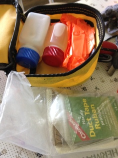 Repair kit for canoe, tent, sleeping pads