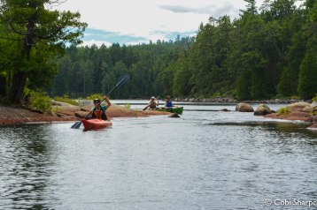 Paddling up the swift from Sylvester Lake into Wolf Lake