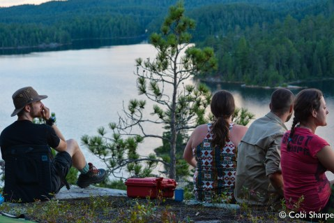 Watching the sun set over Wolf Lake and the Temagami wilderness.