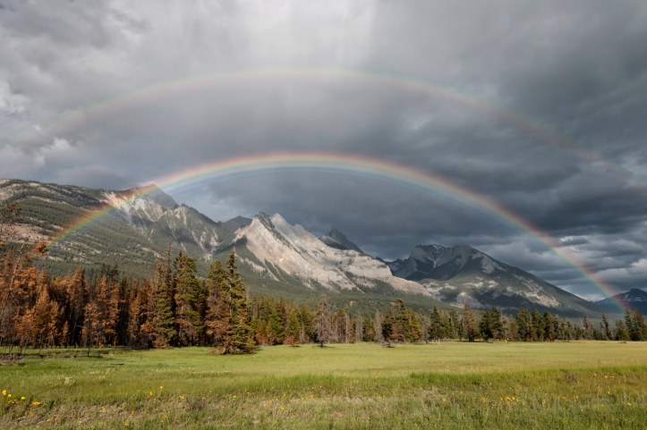 Double rainbow, Jasper, AB. Photo by Nicole Atkins